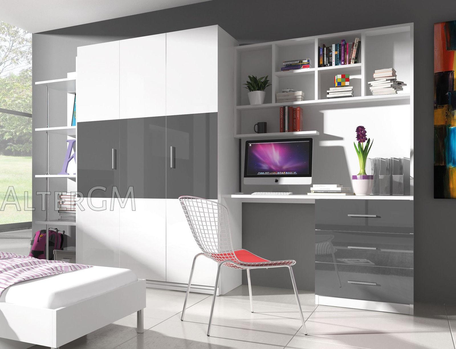 Modern Home Office Furniture Set Wardrobe Desk Bookshelf Bedroom