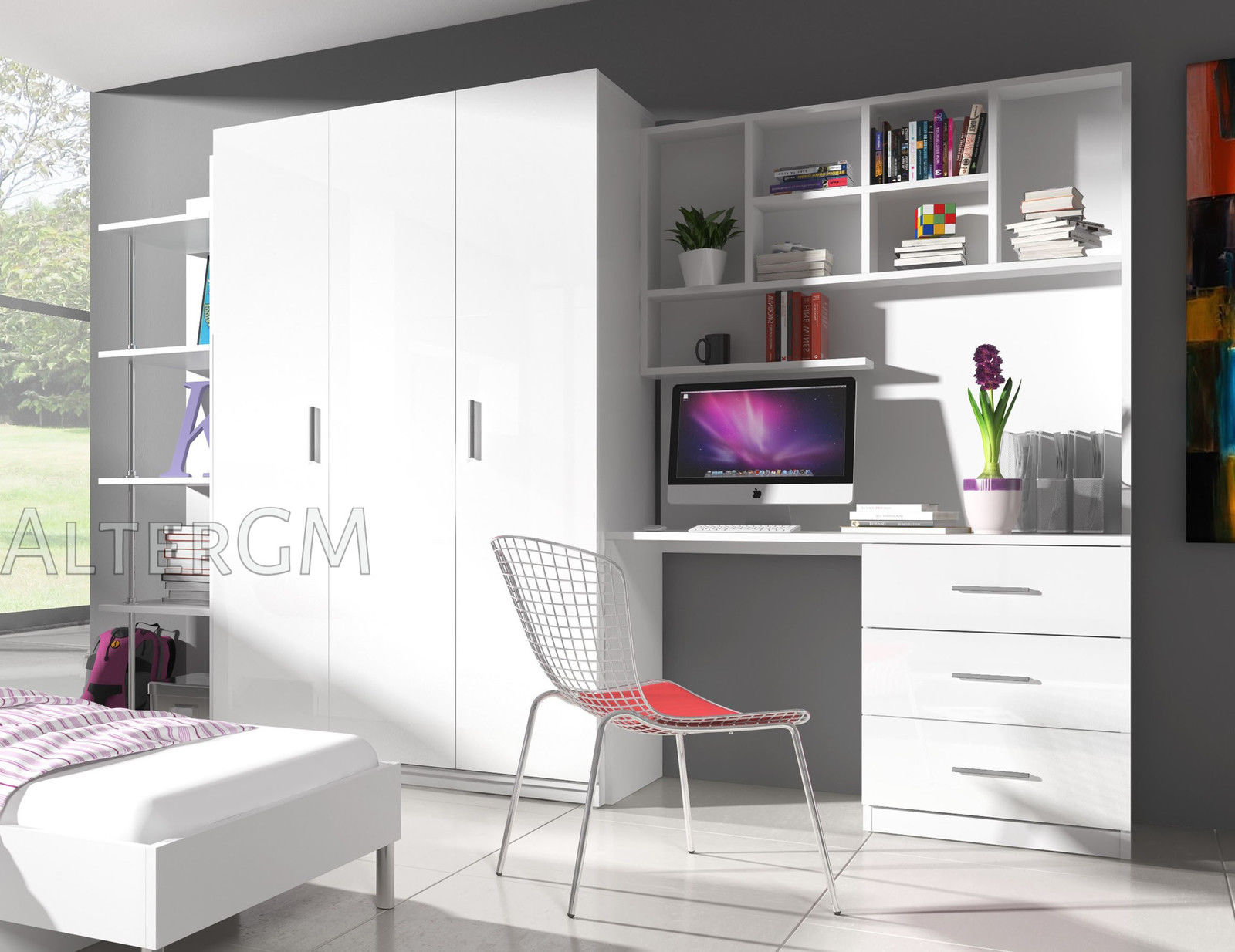 Wall Unit Alta3 Home Office Furniture Set Wardrobe Desk