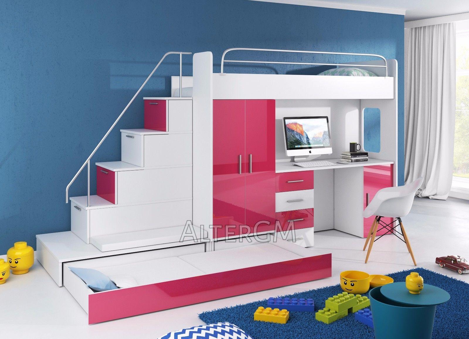 Children cabin bunk bed Bed Alta 5S High Sleeper Wardrobe Desk grey ... 4113f6fc7